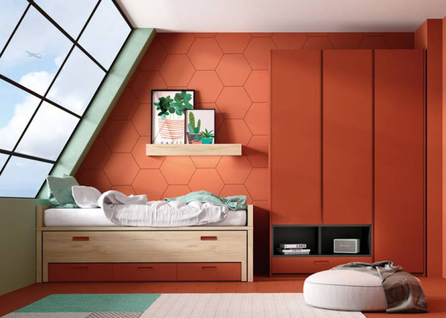 <p>Dormitorio juvenil con compacto Duo, con dos camas de la misma medida, y armarios en hilera que se unifican y se completan con sobrecostados consiguiendo un &uacute;nico elemento de almacenaje.</p>
