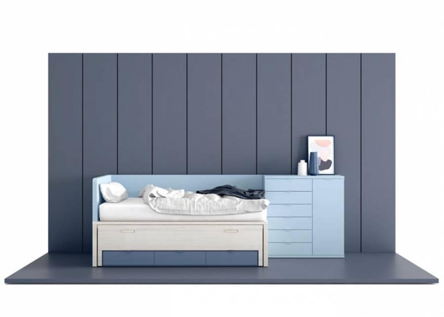 Dormitorio juvenil con compacto de dos camas de 90 x 190 y base de 3 cajones con guías.El conjunto queda enmarcado con un cierre curvo fuelle con brazo i
