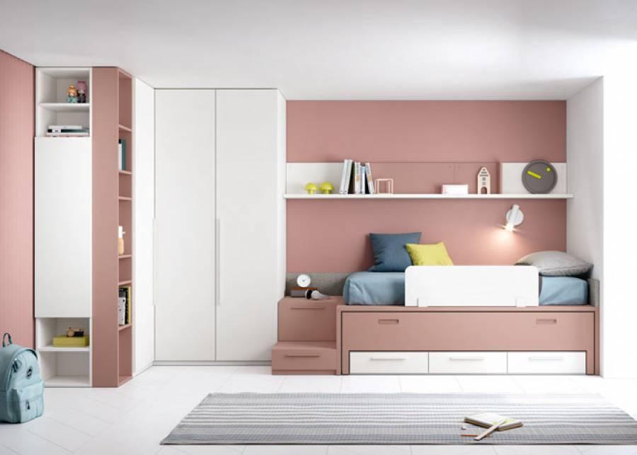 <p>Composici&oacute;n de dormitorio juvenil con armario rinconero para aprovechar al m&aacute;ximo el espacio. Dos m&oacute;dulos Complet de distinta profundidad se convierten en una pr&aacute;ctica escalera para acceder a la cama.</p>