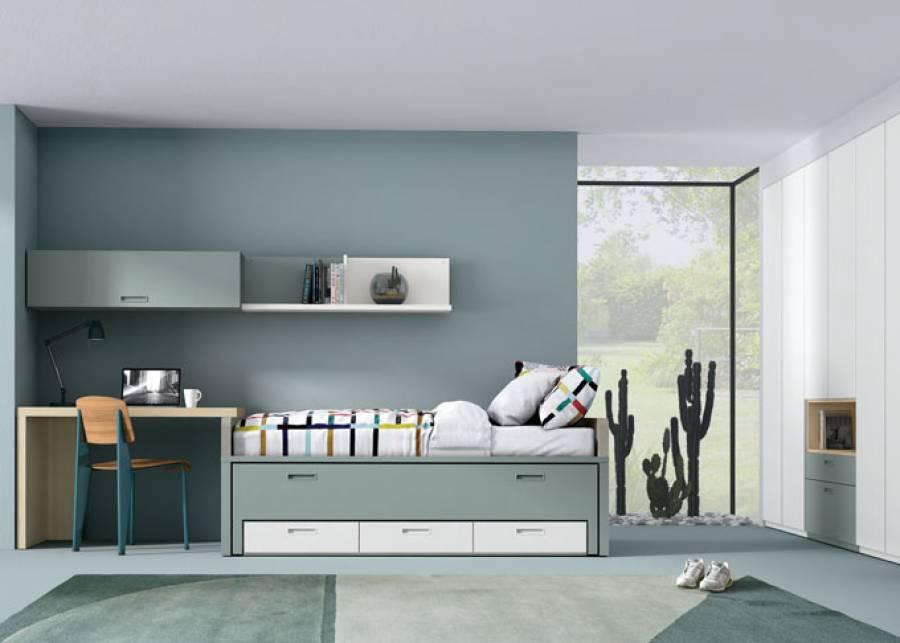 Habitación infantil con compacto Duo, amplia armariada de 4 metros con cajones vistos. La combinación de todos estos elementos forman un conjunto