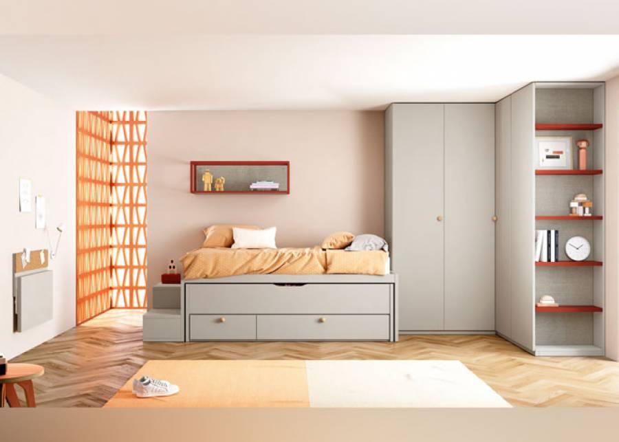 <p>Dormitorio juvenil muy completo con compacto combinable y armario de rinc&oacute;n. La Estanter&iacute;a-Escalera para compactos resulta ideal para los m&aacute;s peque&ntilde;os, a la vez que el escritorio abatible es perfecto para<br />disponer de m&aacute;s espacio en la habitaci&oacute;n mientras &eacute;ste no se est&aacute; utilizando.</p>