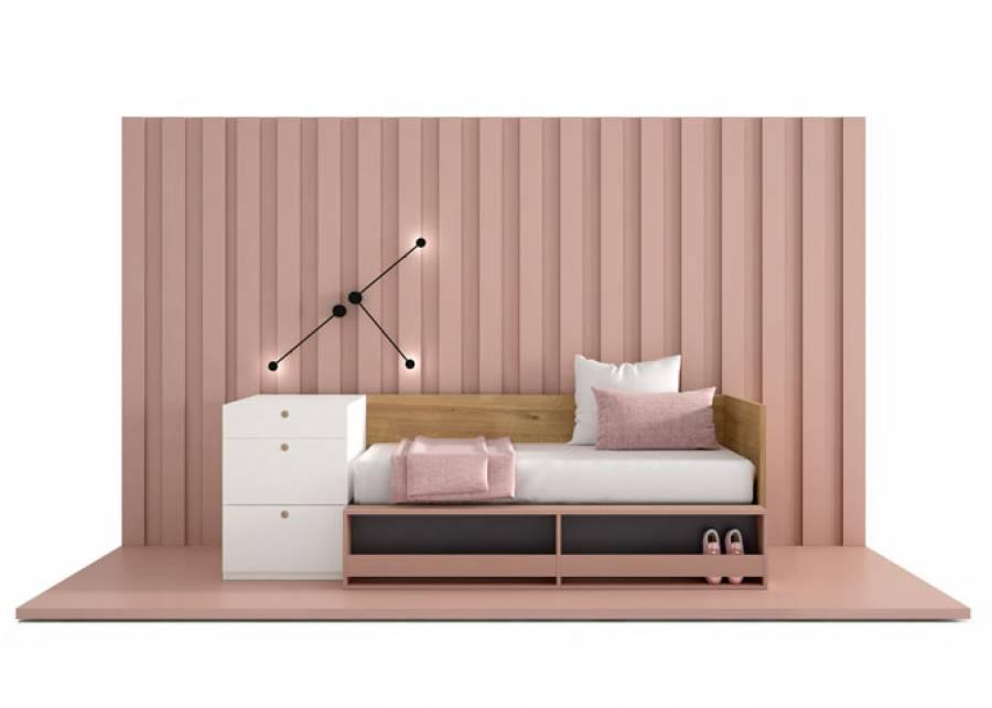 <p>Dise&ntilde;o para peque&ntilde;os espacios. La estanter&iacute;a frontal para cama permite tener a mano las cosas del d&iacute;a a d&iacute;a.</p>