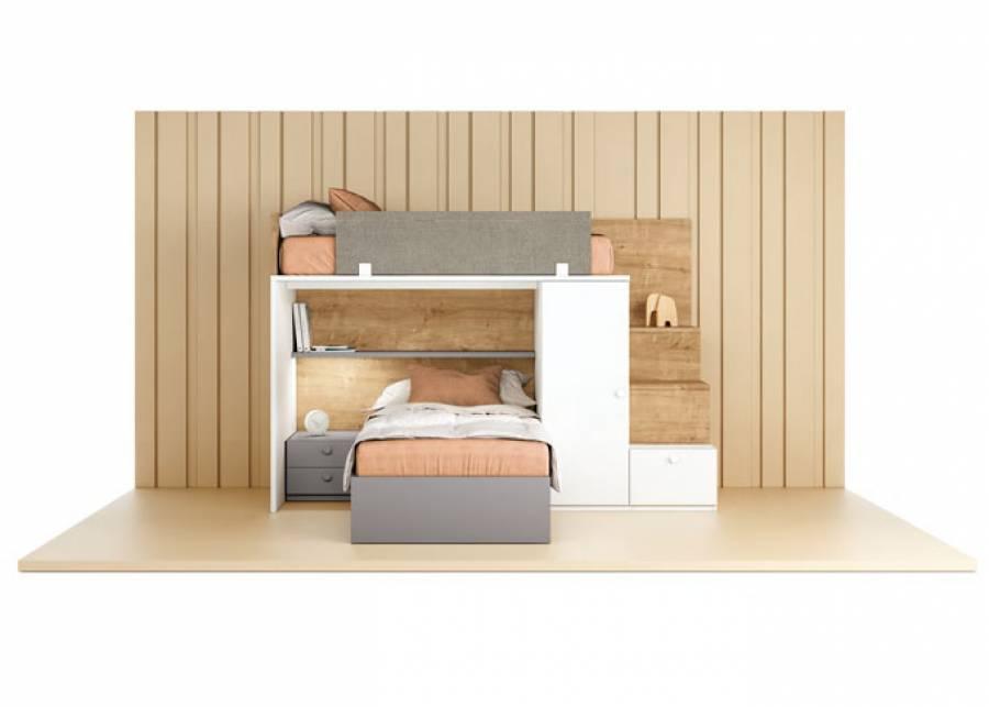 Diseño Block muy completo, pensado para espacios de pocas dimensiones en el que destaca la Escalera-Estantería con cajón.
