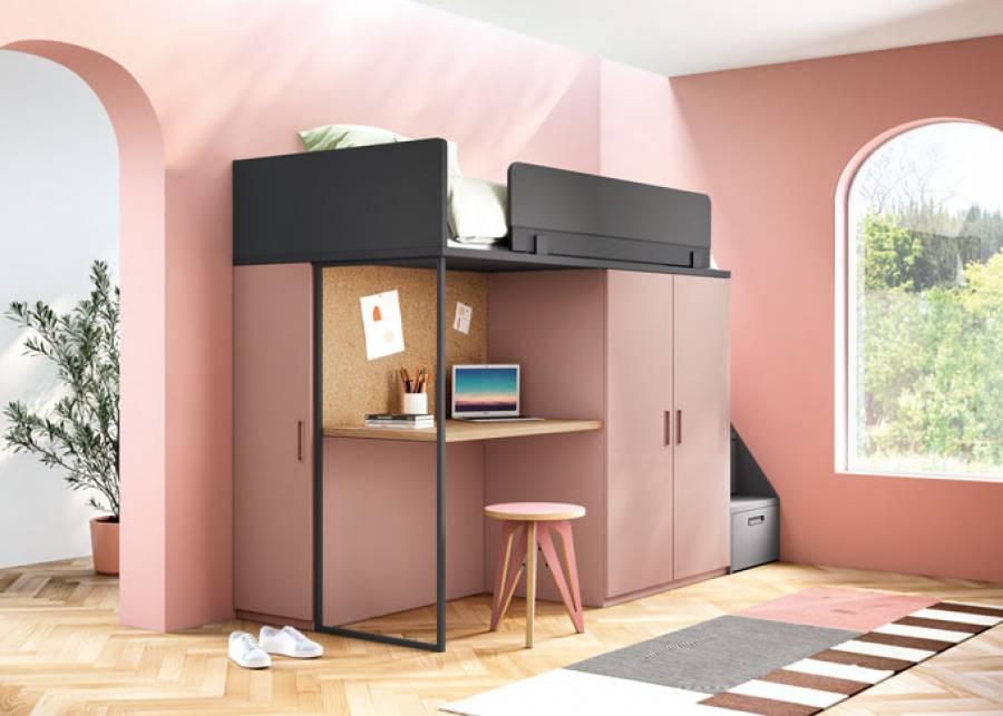 Composición Litera Loft que permite un gran aprovechamiento del espacio en unos pocos metros, incluyendo módulos de almacenaje y zona de estudio b