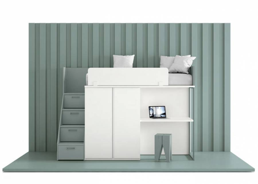 Propuesta completa para un mínimo espacio. Debajo de la cama se ubican módulos de almacenaje y zona e estudio. La escalera resulta muy útil
