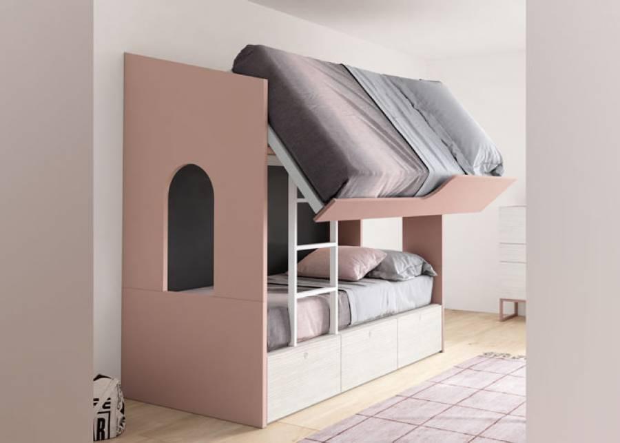 <p>Dormitorio juvenil que combina una original litera Neo con una zona de estudio anexa a un amplio y elegante armario. Como complemento se ha optado por una c&oacute;moda Bandeja con zapatero incluido.</p>