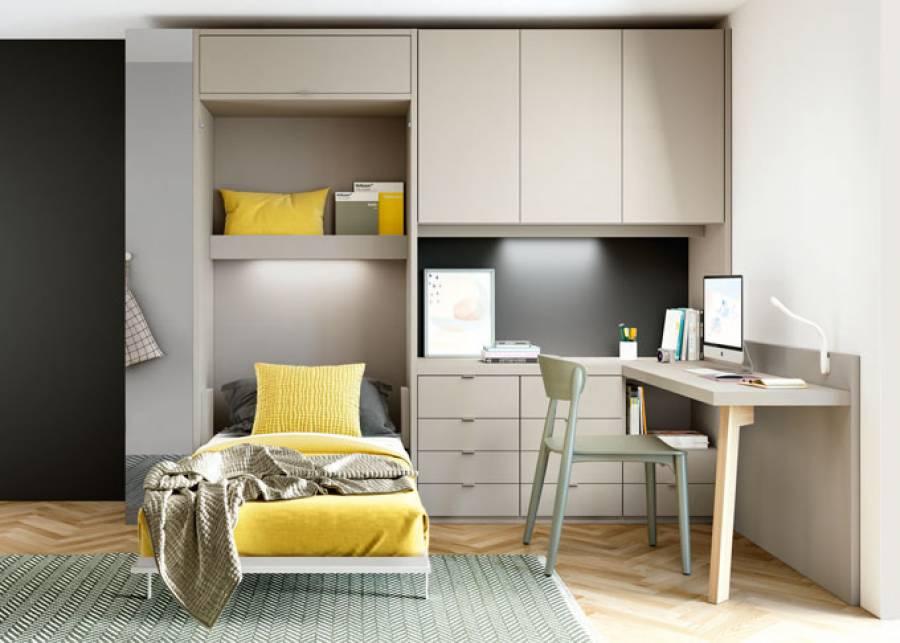 Solución para espacios reducidos en los que se precisa orden y capacidad de almacenaje, así como una pequeña zona de trabajo.