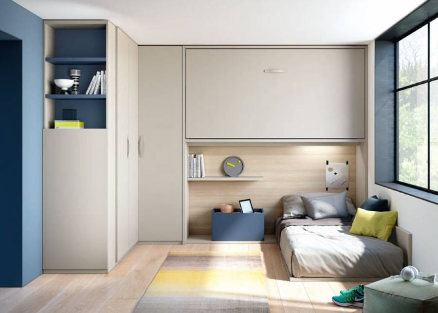 Espacio donde se presenta un completo armario de rincón para aprovechar al máximo y poder guardar infinidad de ropa y otros objetos. Junto al arma