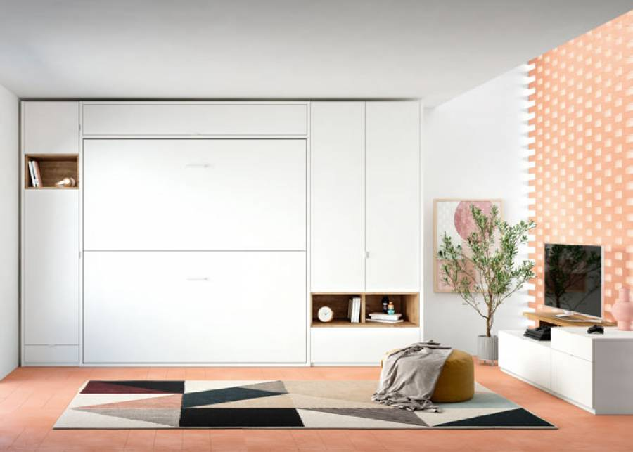 Propuesta de dos camas abatibles Murphy pensada para aquellos espacios en los que se quiere aprovechar el espacio al máximo. La cama superior incorpora u