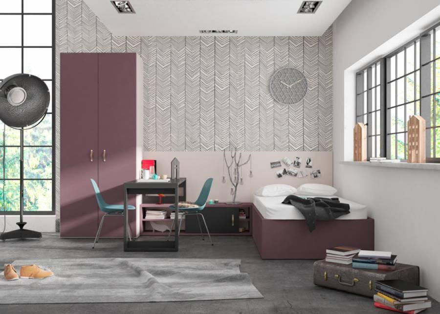<p>Dormitorio juvenil equipado con una cama arc&oacute;n de tapa elevable con somier de lamas integrado, armario y zona de estudio.</p>