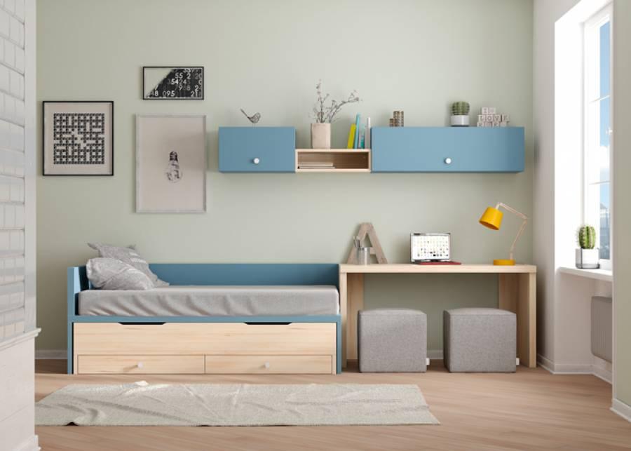 """<p style=""""text-align: justify;"""">Completa <strong>habitaci&oacute;n juvenil </strong>para espacios reducidos con dos camas en una y cajones de gran capacidad. Se completa con zona de estudio con escritorio de canto 5 cm y composici&oacute;n de modulos colgados completamente <strong>personalizable</strong>.&nbsp;</p>"""
