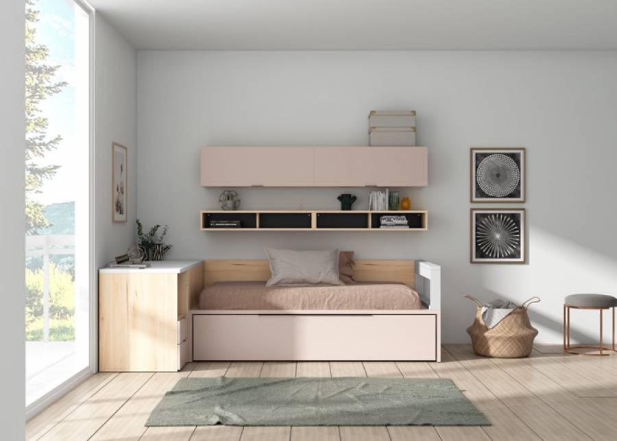 <p>Compacto nido elevable 90 x 190 y arc&oacute;n-escritorio deslizable</p>