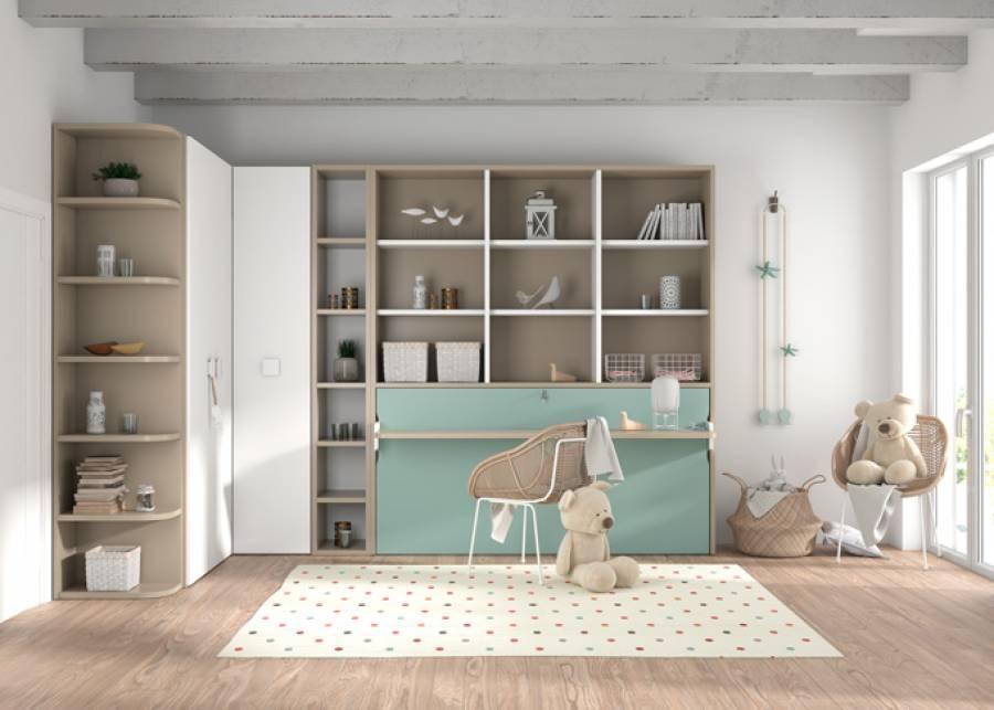 Cama abatible horizontal con escritorio y librería superior + zona armarios angular