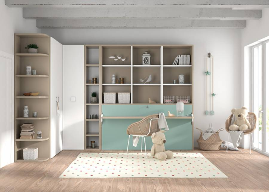 <p>Cama abatible horizontal con escritorio y librer&iacute;a superior + zona armarios angular</p>