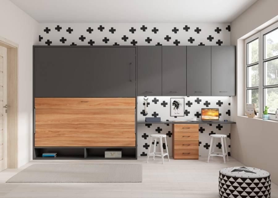 <p>Litera abatible horizontal serie Wallbed con huecos decorativos inferiores y zona de estudio para dos personas.&nbsp;</p>