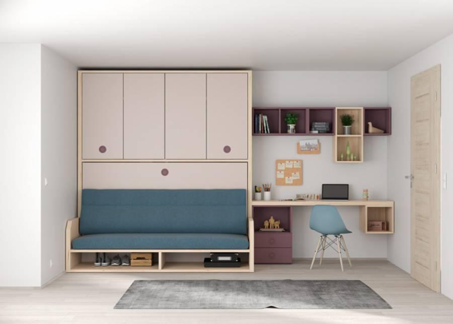 <p>Cama abatible horizontal de 90 x 190 con sof&aacute;, y armario superior de 4 puertas + zona de estudio con composici&oacute;n mural.</p>