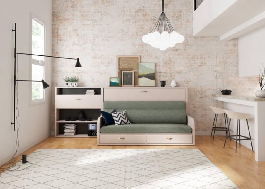 <p>Cama abatible horizontal de 90 x 190 con sof&aacute; integrado y m&oacute;dulo escritorio</p>