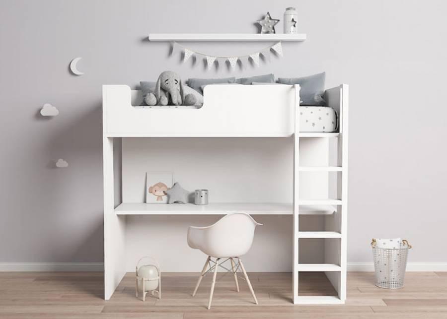<p><strong>&iexcl;Qu&eacute; moderno!</strong> Una<strong> cama alta/litera con escritorio</strong> este modelo de cama es para dormitorios<strong> infantil y juvenil</strong>, tu mejor opci&oacute;n si cuentas con un <strong>espacio limitado</strong></p>