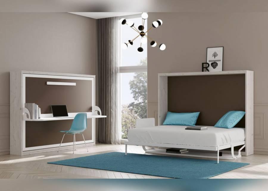 Ambiente equipado con dos camas abatibles de matrimonio en versión horizontal, para medida de colchón de 150 x 190. La estructura de esta cama pa
