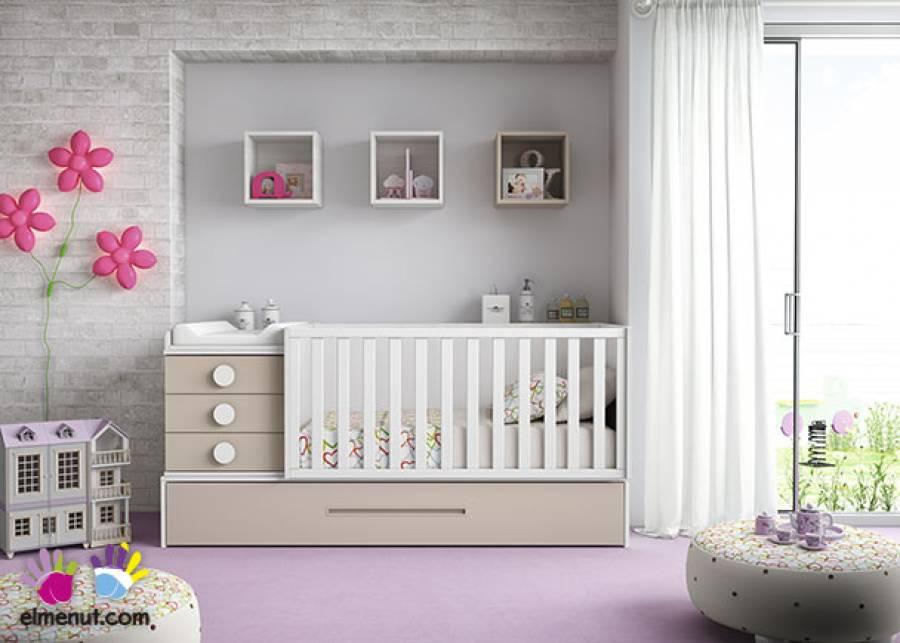 Dormitorio Infantil con cuna convertible y base nido con somier de arrastre en colores Blanco y Tierra.