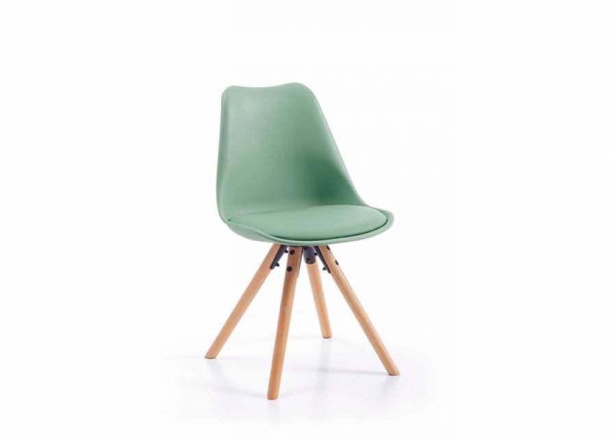 <p>Dale un toque de color a tu sal&oacute;n o zona de estudio con esta bonita y confortable silla de estilo n&oacute;rdico. Su respaldo con forma ligeramente curvada y su asiento acolchado han sido dise&ntilde;ados para aportar mayor confort a la sentada. Est&aacute; fabricada con estructura de polipropileno en color Verde Kaki con asiento de piel sint&eacute;tica en el mismo tono y sus patas de madera de haya son m&aacute;s s&oacute;lidas y robustas que en otros modelos similares.</p>