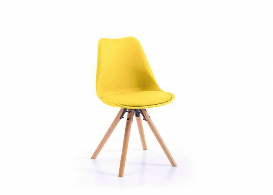<p>Elegante silla de estilo escandinavo con patas de madera de haya de 3,5 cm de espesor. El dise&ntilde;o ergon&oacute;mico de su respaldo ligeramente curvado, y su asiento acolchado, mantendr&aacute;n tu cuerpo relajado y notar&aacute;s mayor confort de sentada. Se ha fabricado con estructura de polipropileno Amarillo Lim&oacute;n y asiento de piel sint&eacute;tica en el mismo tono de acabado</p>