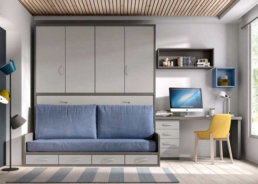 Bonita habitación juvenil, pensada para darle un aire polivalente y contemporáneo. Se ha equipado con una cama abatible horizontal de 90 x 190, co