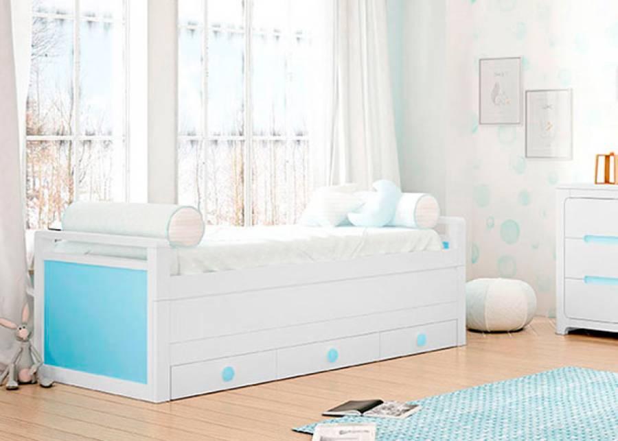 <p>Compacto bicama de brazos bajos. La cama fija tiene una medida para somier de 90 x 190 y la deslizante de 90 x 180. La trampilla que oculta la cama deslizante viene de serie con tirador u&ntilde;ero continuo. Este modelo tiene una base de 3 cajones nido con gu&iacute;as.</p>