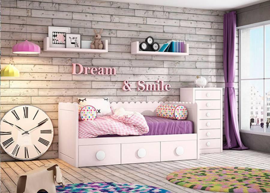 <p>Dormitorio infantil para ni&ntilde;as, con cama nido modelo ONDAS con respaldo estriado y base de 3 cajones contenedores. El ambiente se completa con un sinfonier de 6 cajones y unos estantes de pared con orejas situados sobre la pared de la cama</p>