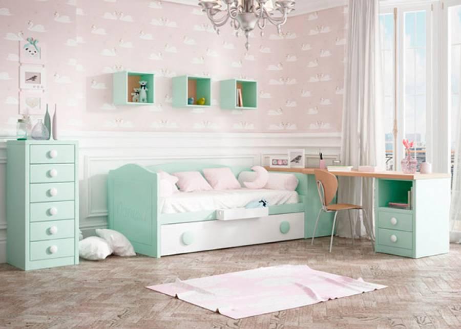 Dormitorio infantil equipado con una cama nido de brazos curvos, con cama de arrastre suplementaria. La escena se completa con una zona de estudio y un sinfonie