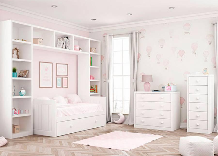 <p>Dormitorio infantil con cama nido de brazos altos modelo RECTO, 2 librer&iacute;as con altillo puente enmarcando la zona de descanso y como complementos de almacenamiento, una c&oacute;moda de 4 cajones y un sinfonier de 6 cajones</p>