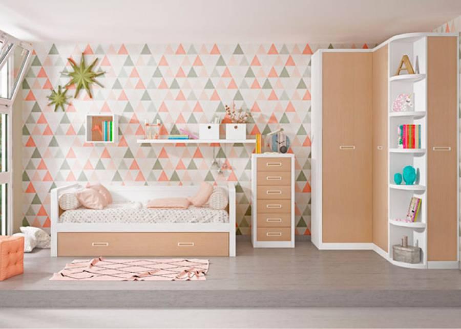 <p>Completisimo dormitorio infantil, equipado con una cama nido bicolor, un sinfonier de 6 cajones con frentes en roble, y armario rinconero con terminal de estantes.</p>