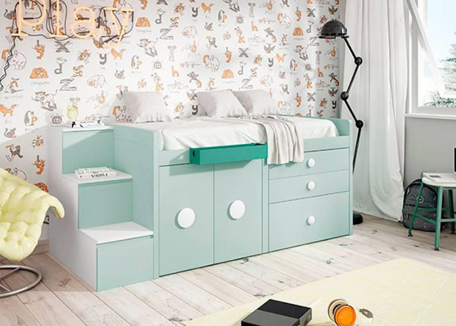 <p>Dormitorio infantil, con cama alta sobre m&oacute;dulos block de armario y cajones con escalera lateral de 3 pelda&ntilde;os.&nbsp;</p>