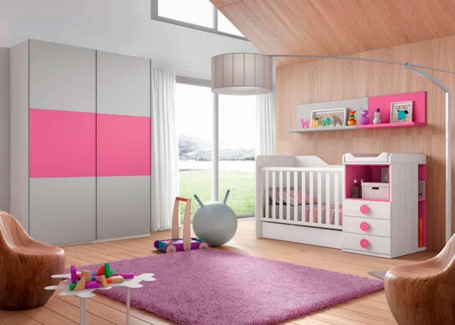 <p>Dormitorio infantil con cuna convertible nido + Armario de 2 puertas correderas. Color Blanco y Fucsia</p>
