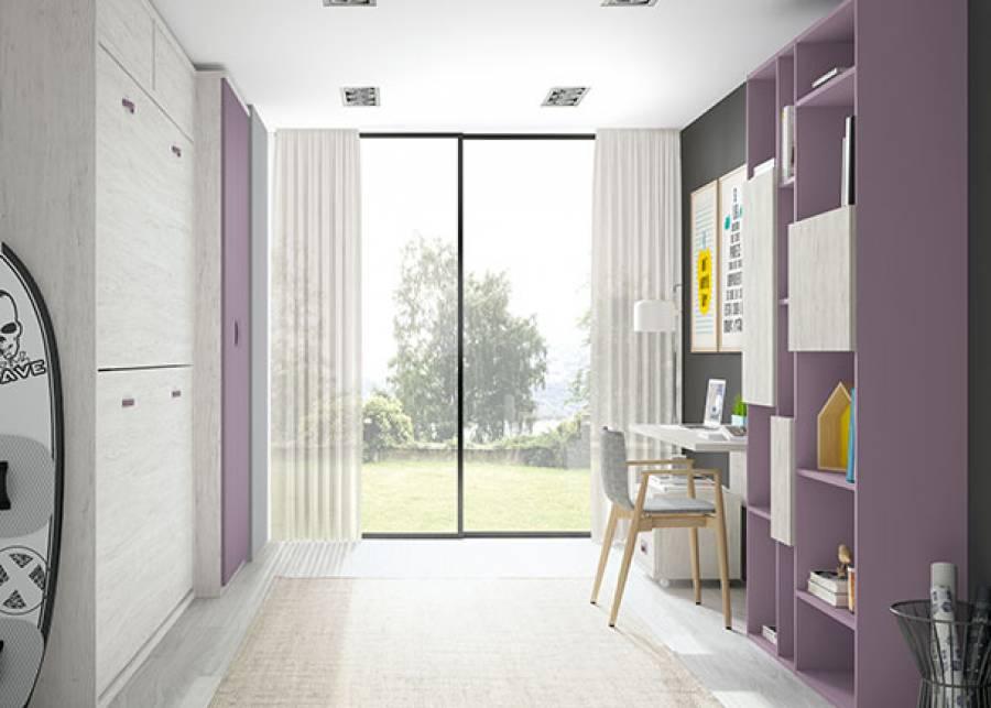 <p>Dormitorio infantil con literas abatibles y zona de estudio.</p>