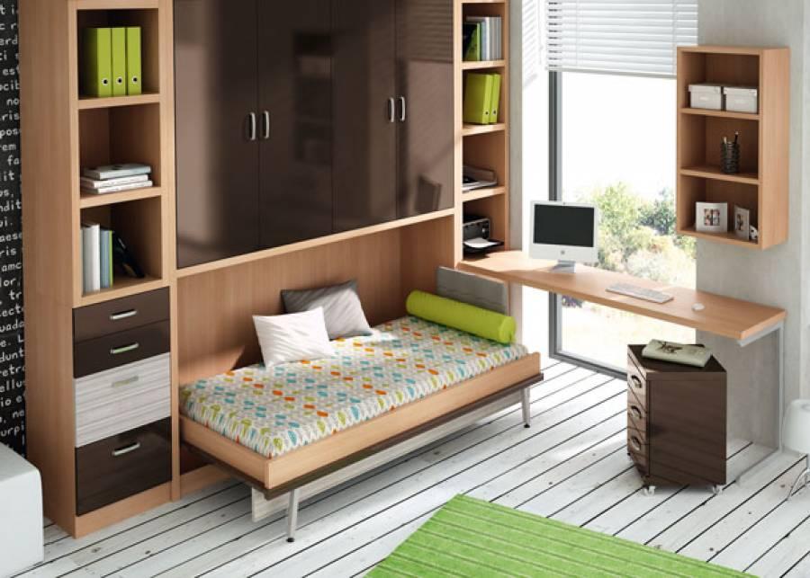 <p>Habitaci&oacute;n juvenil con cama abatible horizontal de 90 x 190. El mueble que la contiene, dispone de un armario 4 puertas en la parte alta, y da una altura total de 238,5 cm.</p>