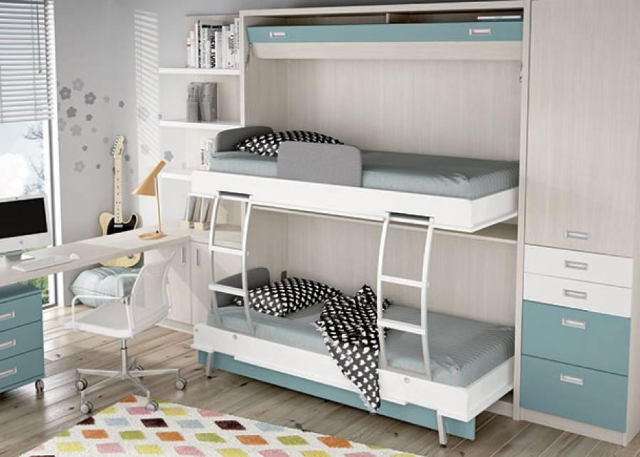 <p>Dormitorio infantil equipado con una litera abatible para colchones de 90 x 190. El ambiente cuenta adem&aacute;s con un armario de una puerta en la parte superior con 2 cajones y 2 contenedores en la parte baja. La zona de estudio la compone un escritorio de sobre recto, un m&oacute;dulo auxilar de 3 cajones y un librer&iacute;a con panel trasero.</p>