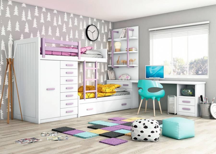 <p>Dormitorio infantil con camas tren y nido con somier de arrastre. La cama alta se sujeta gracias a un m&oacute;dulo block de 1 puerta y otro con 7 cajones.</p>
