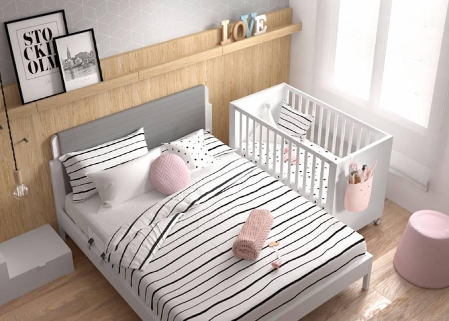 Cuna colecho con ruedas para colchón de 120x60, con 8 posiciones de somier y barandilla removible. Un colecho permite que el bebé se sienta segur