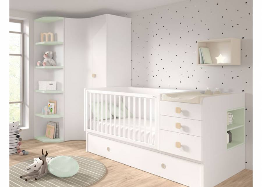 <p>Dormitorio de beb&eacute; con cuna convertible de 140x70 con barandilla abatible y base nido con 3 cajones.</p> <p>&nbsp;</p> <p>Este modelo se transforma facilmente en una cama adulta de 90x190.</p>