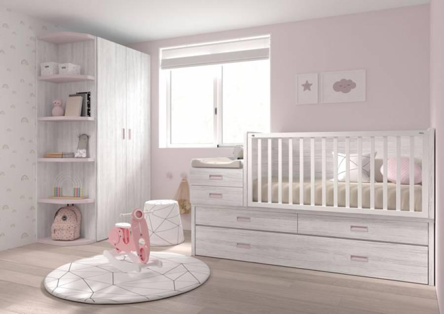 Dormitorio de bebé con cuna convertible, transformable en una cama compacta de medida adulta para colchón de 190x90, con 2 grandes cajones en el n