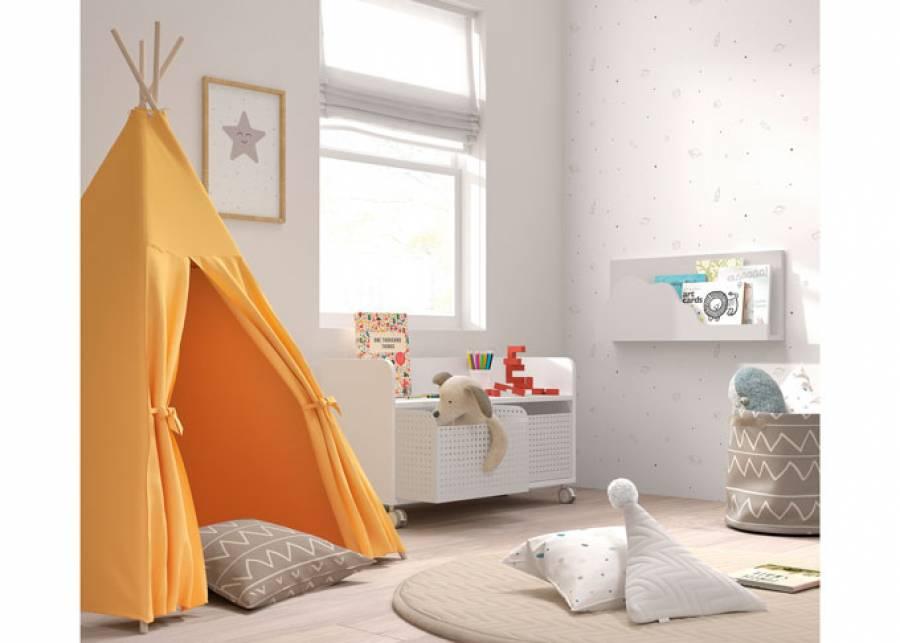 ¡Un espacio para que tus hijos desarrollen su creatividad! Zona de juegos con estantería baja con ruedas y cajones jugueteros de chapa metá
