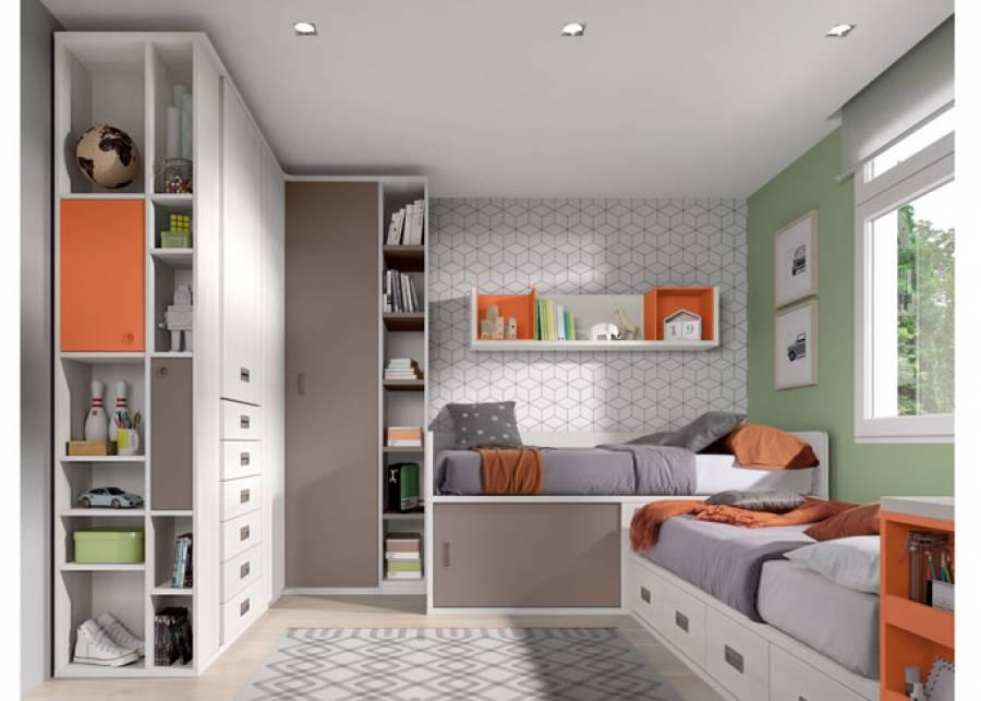 <p>Habitaci&oacute;n infantil con dos camas en L de dos alturas diferentes; una de ellas dispone de una con base de 4 cajones nido, y la otra de mayor altura, ofrece mayor capacidad de almacenamiento y resulta facilmente accesible, gracias a su dise&ntilde;o con puerta corredera.</p> <p>La escena se completa con un armario en equina, y un armario de 1 puerta y 6 cajones vistos + terminal con estantes asim&eacute;tricos.</p> <p><br /><br /></p>