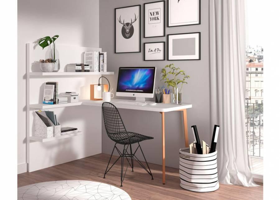 """<h3>&iexcl;Work in the Living Room!</h3> <p style=""""text-align: justify;"""">&iexcl;Crea facilmente un c&oacute;modo <strong>Home Office</strong> en cualquier rinc&oacute;n!</p> <p style=""""text-align: justify;"""">En la actualidad, el teletrabajo forma parte de nuestras vidas, por eso queremos ayudarte con ideas pensadas para espacios reducidos, que te permitir&aacute;n trabajar de la manera m&aacute;s comoda posible.</p> <p style=""""text-align: justify;"""">Dispondr&aacute;s de un<strong> escritorio de sobre recto</strong>, y una <strong>librer&iacute;a a suelo sobre panel mural</strong>, adem&aacute;s de un mont&oacute;n de <strong>accesorios decorativos</strong> que encontrar&aacute;s tambi&eacute;n disponibles a trav&eacute;s de nuestra tienda online elmenut.Store.</p>"""