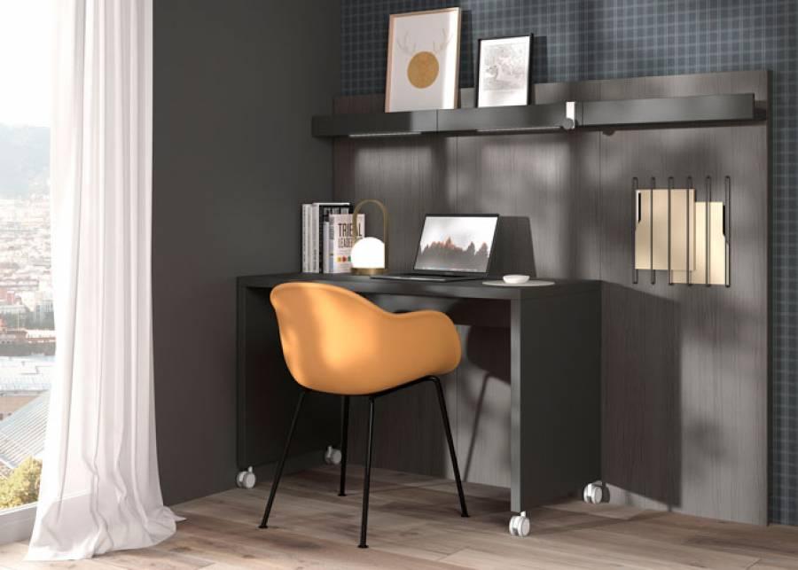 """<h3 style=""""text-align: justify;"""">&iexcl;Posiciona tu mesa de trabajo seg&uacute;n la luz!</h3> <p style=""""text-align: justify;"""">&nbsp;</p> <p style=""""text-align: justify;"""">Con esta soluci&oacute;n, podr&aacute;s trabajar desde casa, y al mismo tiempo posicionar tu escritorio seg&uacute;n la luz o tu estado de &aacute;nimo, e incluso disfrutar del paisaje a trav&eacute;s de tu ventana al levantar la cabeza.</p> <p style=""""text-align: justify;"""">Sabemos que trabajar desde casa se ha convertido en una necesidad, por eso es importante encontrar la versatilidad de las zonas destinadas a tal fin.&nbsp;</p> <p style=""""text-align: justify;"""">Entre nuestras propuestas, seguro que encontrar&aacute;s la que mejor se adapta a tu necesidad, para que puedas aprovechar cada pa&ntilde;o de pared disponible.</p> <p style=""""text-align: justify;"""">En <strong>elmenut.com</strong>, estamos <strong>especializados en sacar el mayor rendimiento a espacios reducidos</strong>.&nbsp;</p> <p style=""""text-align: justify;"""">Tampoco nos olvidamos de los <strong>complementos</strong>, por eso tenemos a tu disposici&oacute;n un mont&oacute;n de <strong>accesorios decorativos</strong> a trav&eacute;s de <strong>nuestra tienda online elmenut.Store.</strong></p>"""