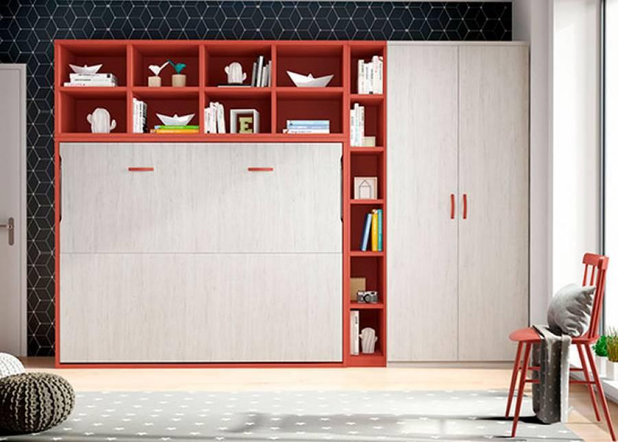 <p>Estudio con cama abatible de 135x190 + armario recto de 2 puertas. Sobre la cama se ha colocado una librer&iacute;a con dise&ntilde;o de celdas en color contrastado y a tono con otra librer&iacute;a vertical que iguala la altura de la composici&oacute;n mural con el armario.</p>