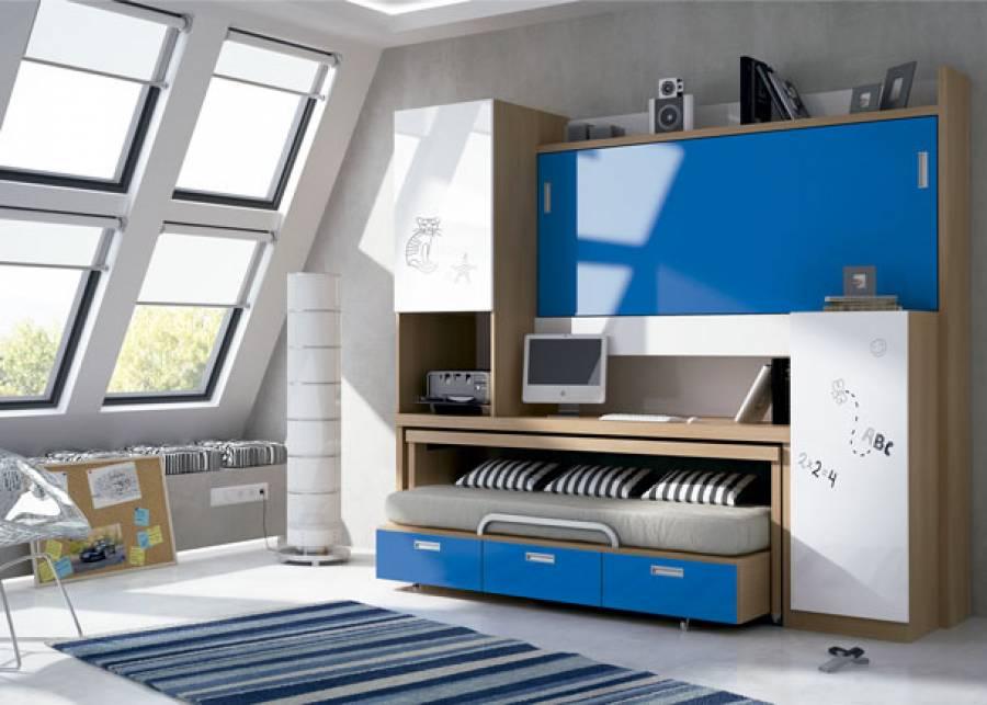<p>Dormitorio juvenil con pr&aacute;ctico mueble compacto abatible y autoportable.&nbsp;</p>