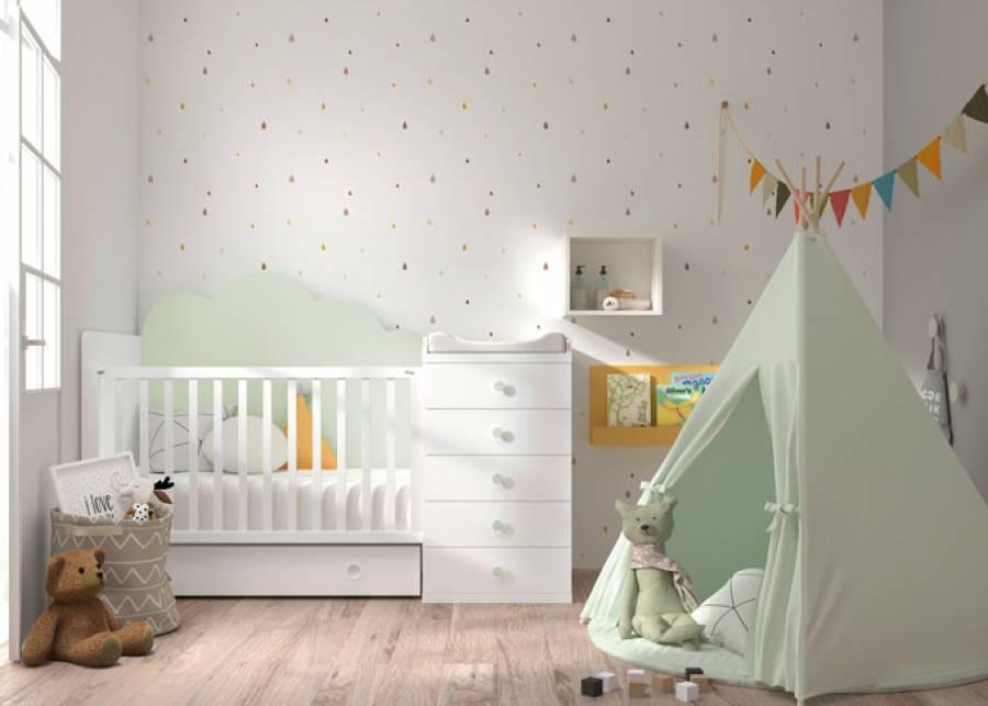 Si buscas una habitación especial para tu bebé, seguro que te encantará esta cuna convertible de 120x60 con trasera modelo nube, cajó