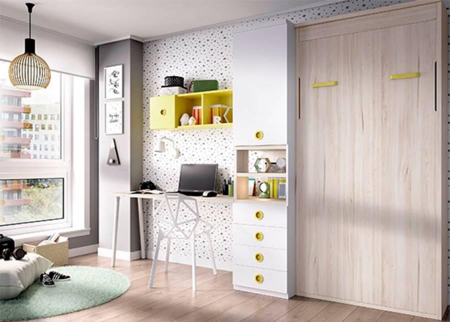 "<h2 style=""text-align: justify;"">Dormitorio juvenil con cama abatible vertical de 90 x 190</h2> <p style=""text-align: justify;"">&nbsp;</p> <p style=""text-align: justify;""><strong>Zona de estudio con escritorio recto</strong>, composici&oacute;n mural,<strong> armario con puerta, cajones y hueco</strong></p>"