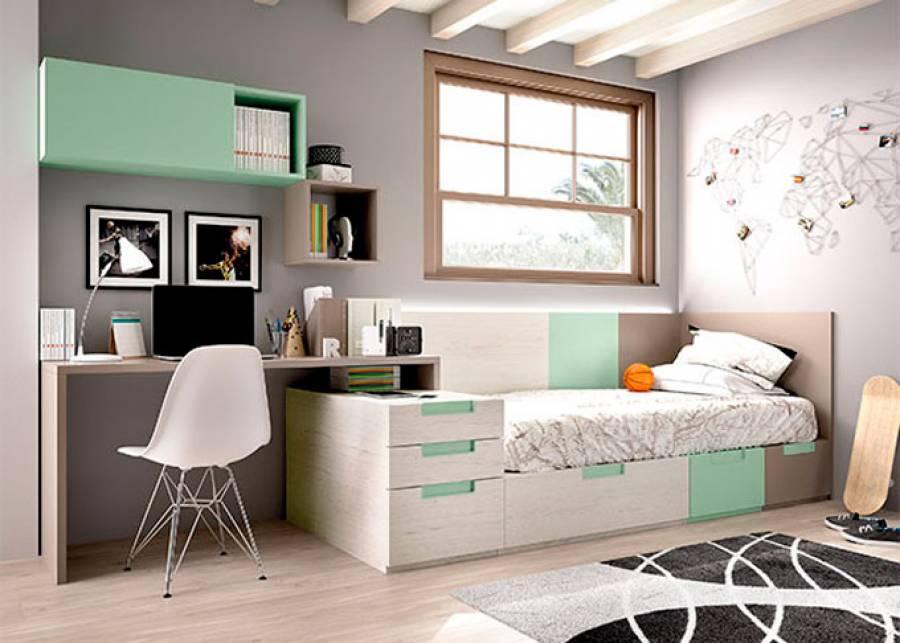 """<h2 style=""""text-align: justify;"""">Dormitorio juvenil con cama modular</h2> <p style=""""text-align: justify;"""">Cajones con z&oacute;calo a suelo, combinados con apilables. Escritorio de 152 cm, m&oacute;dulos colgantes, y friso de paneles con LED.</p>"""